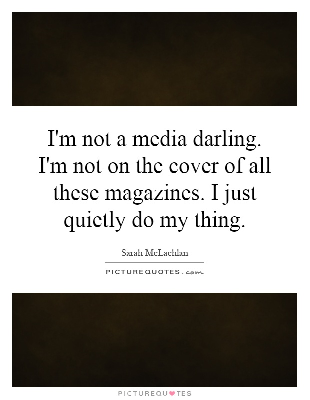 I'm not a media darling. I'm not on the cover of all these magazines. I just quietly do my thing Picture Quote #1