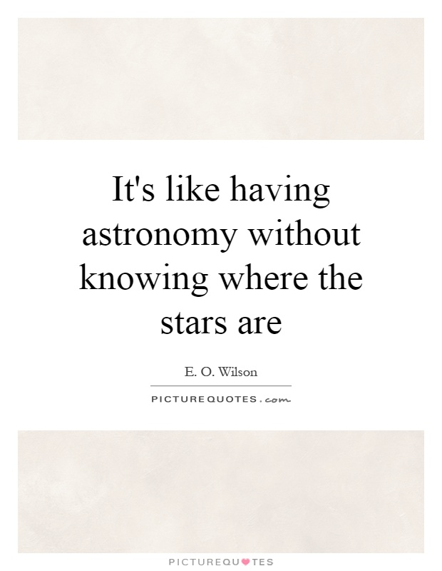 It's like having astronomy without knowing where the stars are Picture Quote #1