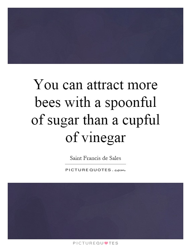 You can attract more bees with a spoonful of sugar than a cupful of vinegar Picture Quote #1