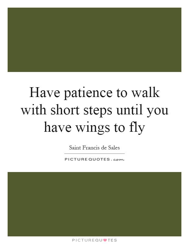 Have patience to walk with short steps until you have wings to fly Picture Quote #1