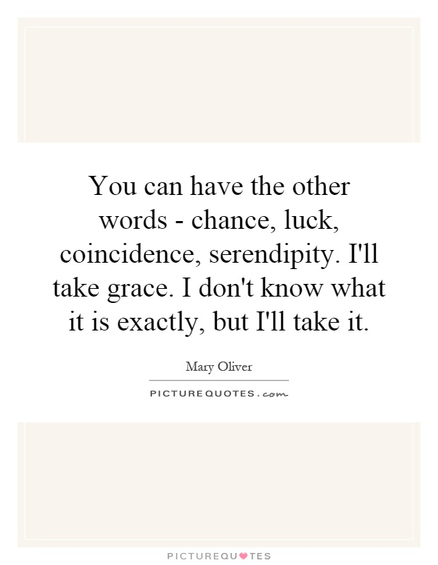 You can have the other words - chance, luck, coincidence, serendipity. I'll take grace. I don't know what it is exactly, but I'll take it Picture Quote #1
