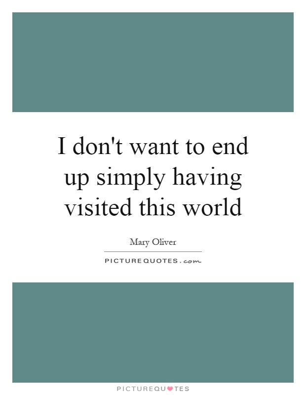 I don't want to end up simply having visited this world Picture Quote #1