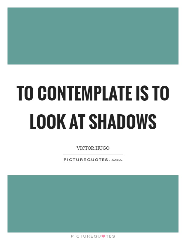 To contemplate is to look at shadows Picture Quote #1