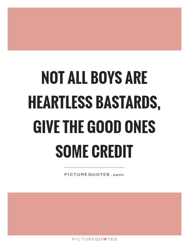Not all boys are heartless bastards, give the good ones some credit Picture Quote #1