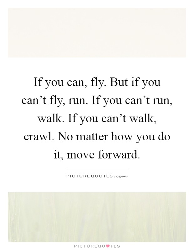 If you can, fly. But if you can't fly, run. If you can't run, walk. If you can't walk, crawl. No matter how you do it, move forward Picture Quote #1