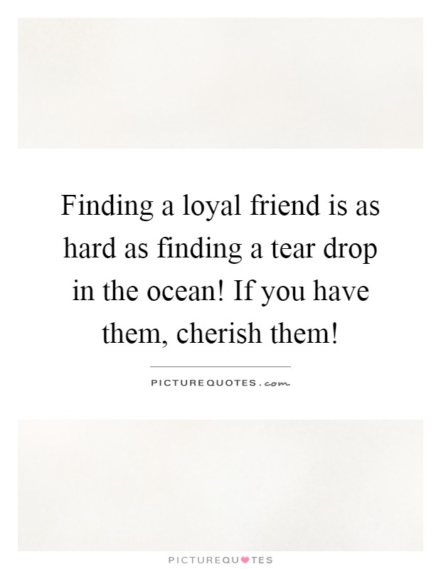 Finding a loyal friend is as hard as finding a tear drop in the ocean! If you have them, cherish them! Picture Quote #1