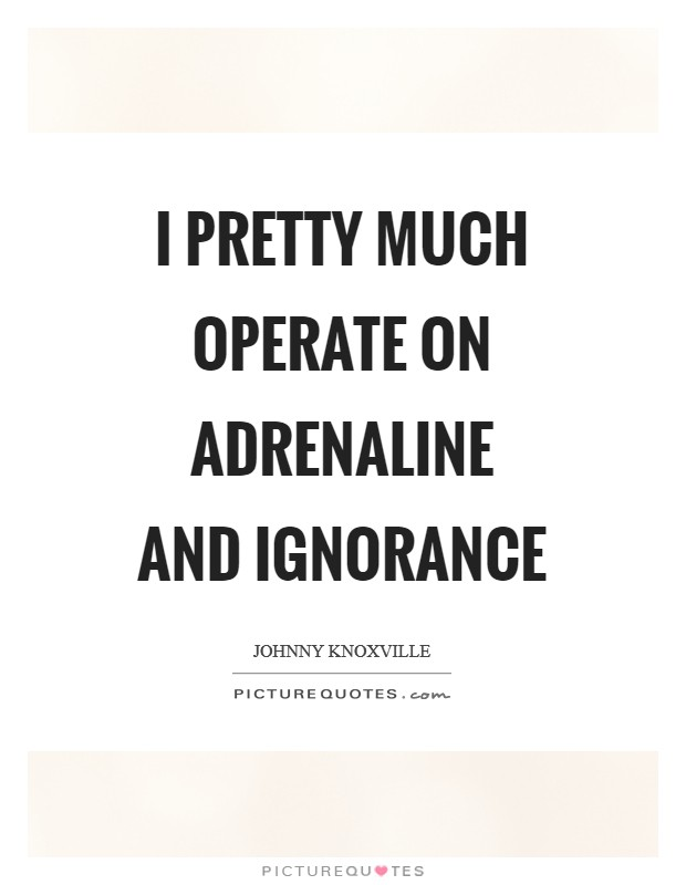 I pretty much operate on adrenaline and ignorance Picture Quote #1