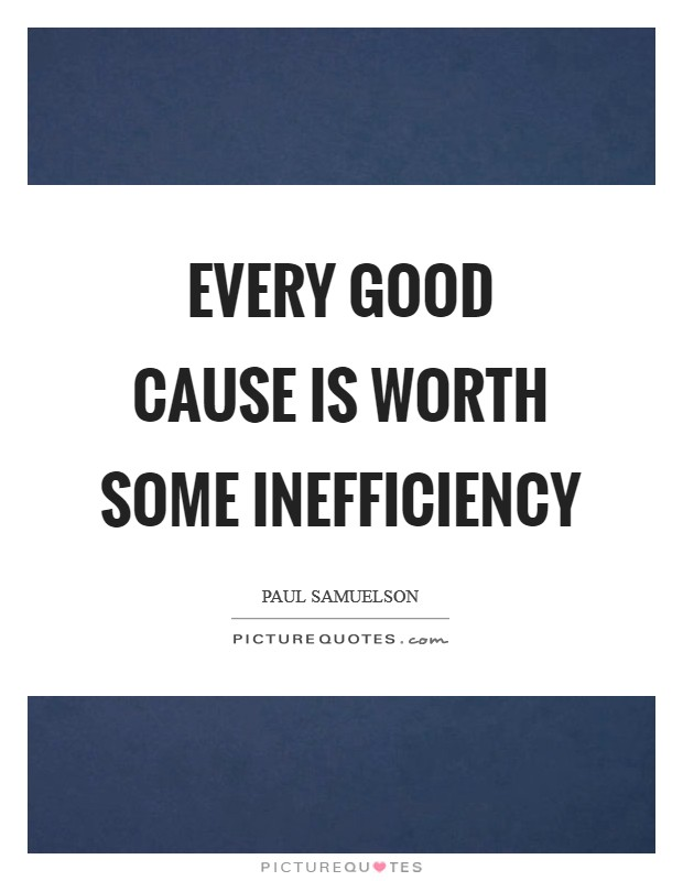 Every good cause is worth some inefficiency Picture Quote #1