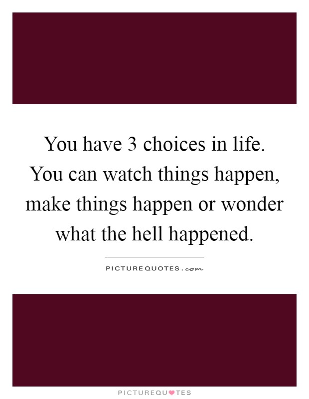 You have 3 choices in life. You can watch things happen, make things happen or wonder what the hell happened Picture Quote #1