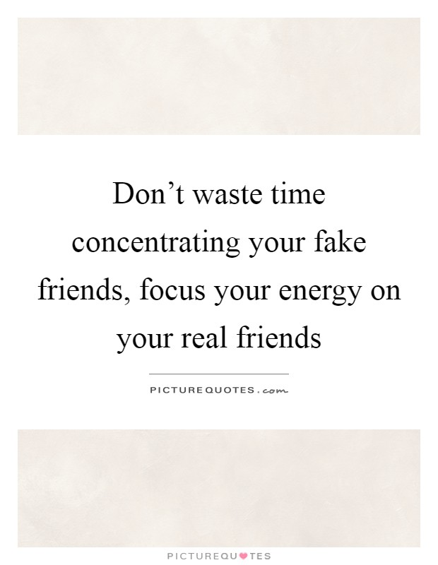 Don't waste time concentrating your fake friends, focus your energy on your real friends Picture Quote #1
