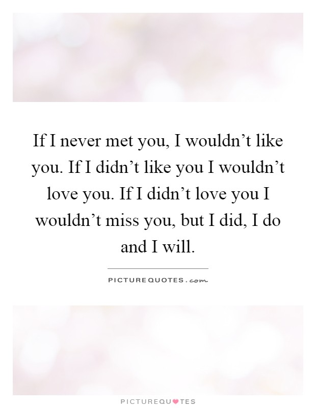 If I never met you, I wouldn't like you. If I didn't like you I wouldn't love you. If I didn't love you I wouldn't miss you, but I did, I do and I will Picture Quote #1