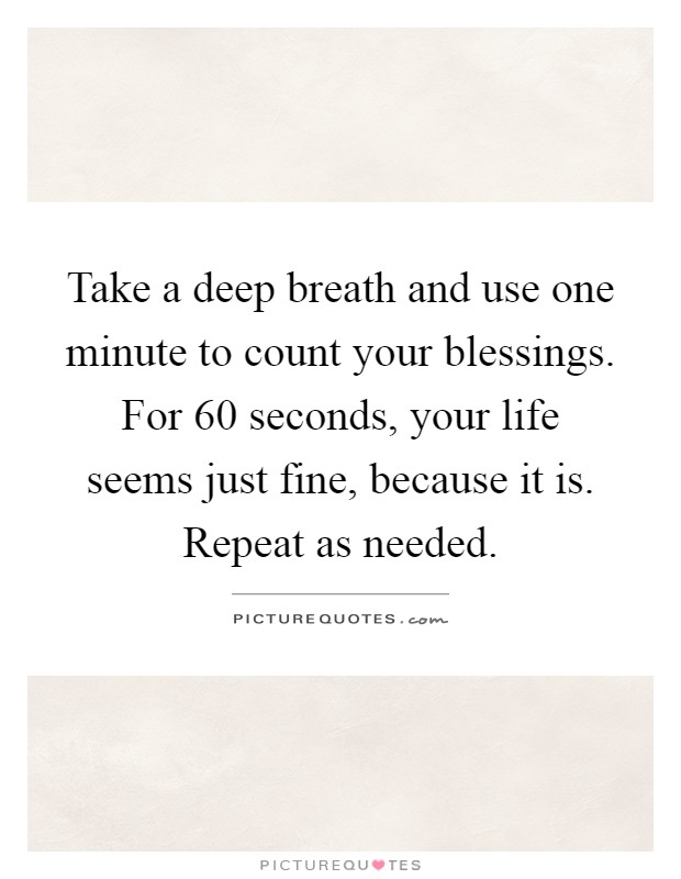 Take a deep breath and use one minute to count your blessings. For 60 seconds, your life seems just fine, because it is. Repeat as needed Picture Quote #1