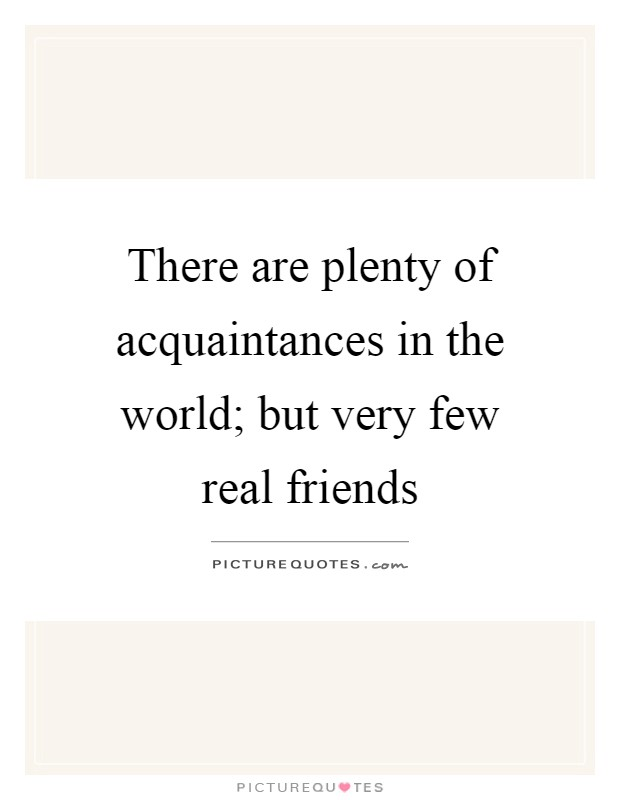 There are plenty of acquaintances in the world; but very few real friends Picture Quote #1