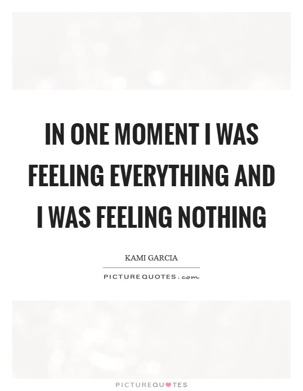 In one moment I was feeling everything and I was feeling nothing Picture Quote #1