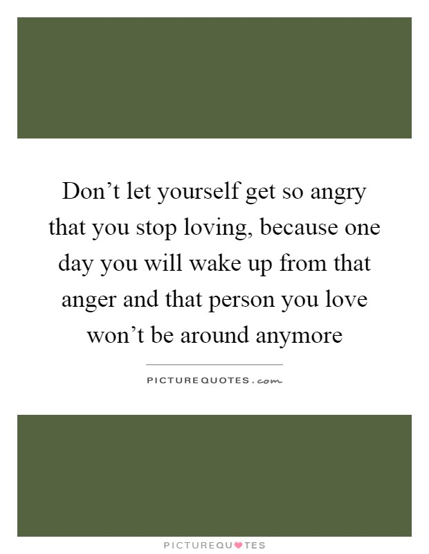 Don't let yourself get so angry that you stop loving, because one day you will wake up from that anger and that person you love won't be around anymore Picture Quote #1