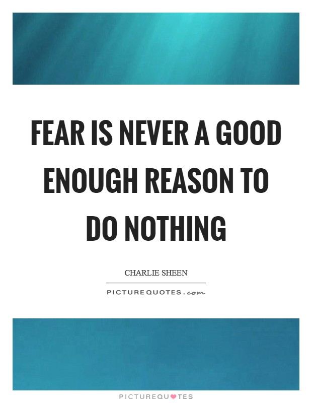 Fear is never a good enough reason to do nothing Picture Quote #1