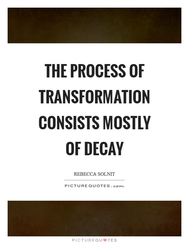 The process of transformation consists mostly of decay Picture Quote #1