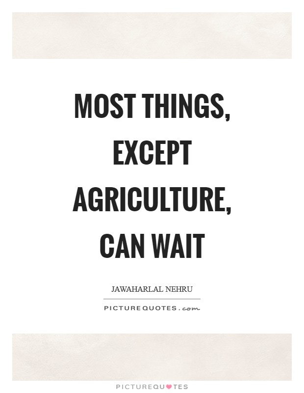 Most things, except agriculture, can wait Picture Quote #1