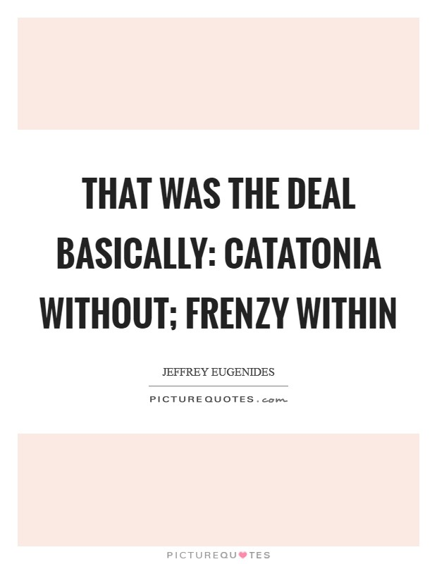 That was the deal basically: catatonia without; frenzy within Picture Quote #1