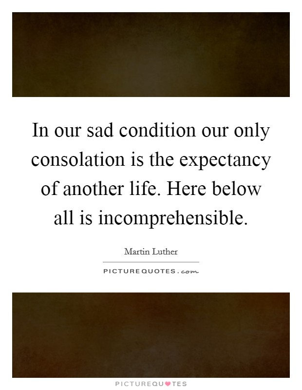 In our sad condition our only consolation is the expectancy of another life. Here below all is incomprehensible Picture Quote #1