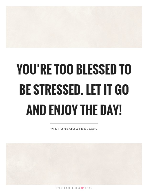 You re too blessed to be stressed let it go and enjoy the for Quotes on enjoying the day