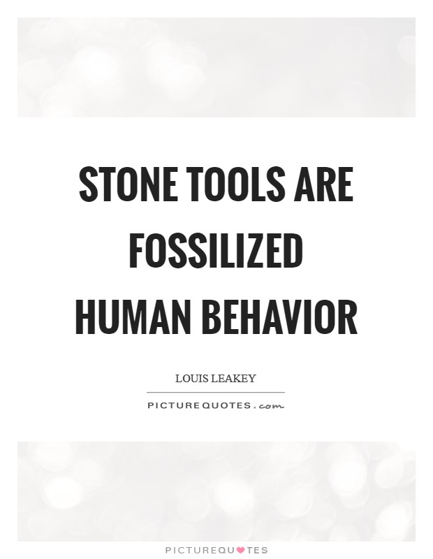 Stone tools are fossilized human behavior Picture Quote #1
