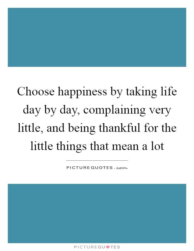 Choose happiness by taking life day by day, complaining very little, and being thankful for the little things that mean a lot Picture Quote #1