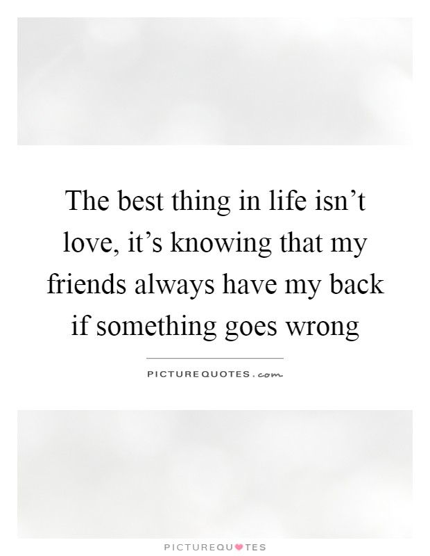 The best thing in life isn't love, it's knowing that my friends always have my back if something goes wrong Picture Quote #1