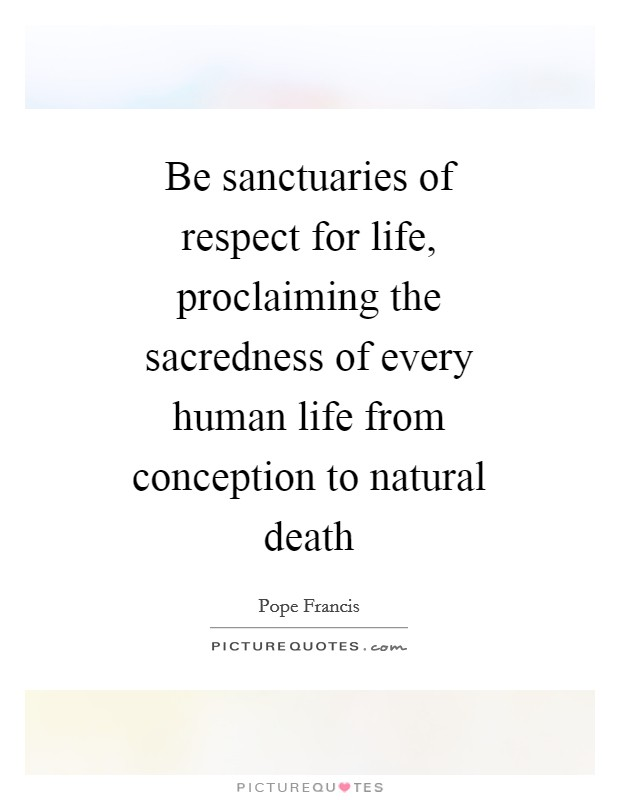 Be sanctuaries of respect for life, proclaiming the sacredness of every human life from conception to natural death Picture Quote #1