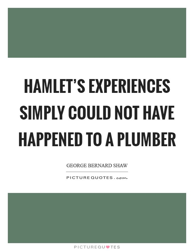 Hamlet's experiences simply could not have happened to a plumber Picture Quote #1