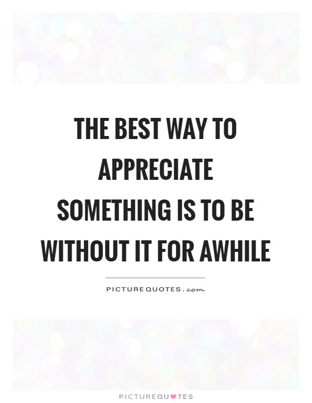 The best way to appreciate something is to be without it for awhile Picture Quote #1