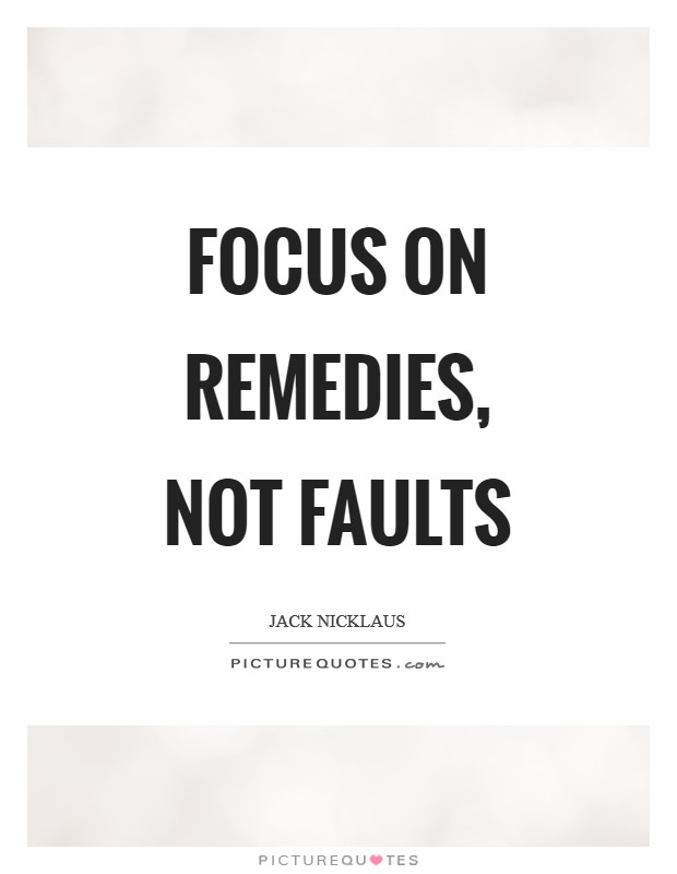 Focus on remedies, not faults Picture Quote #1