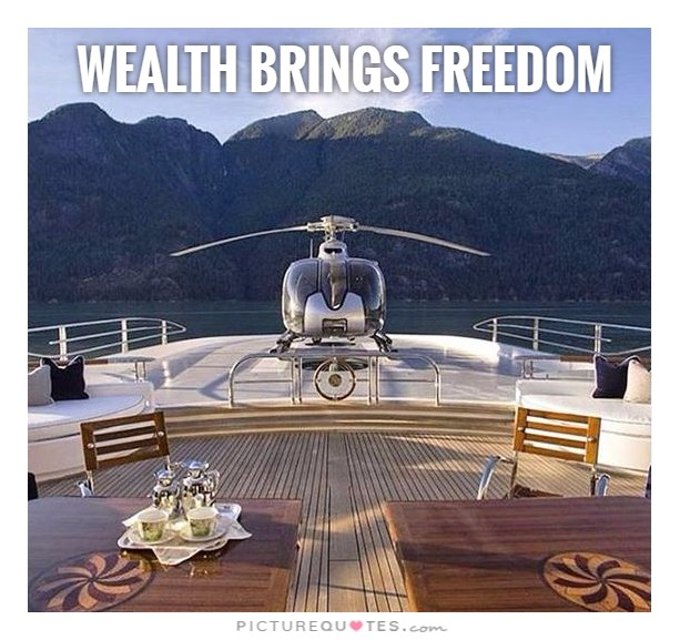 Wealth brings freedom Picture Quote #1