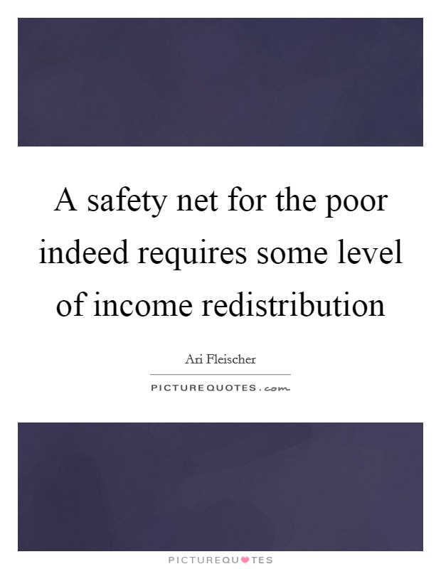 A safety net for the poor indeed requires some level of income redistribution Picture Quote #1