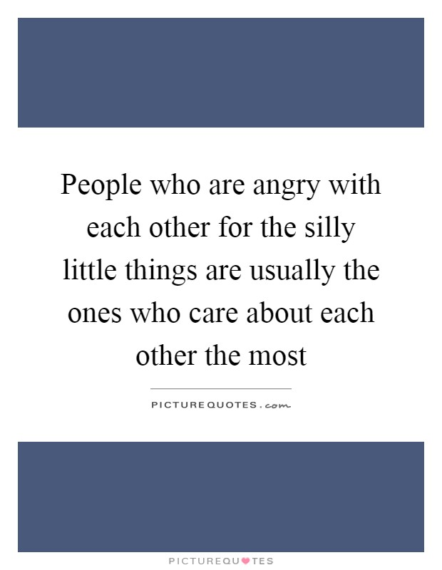 People who are angry with each other for the silly little things are usually the ones who care about each other the most Picture Quote #1