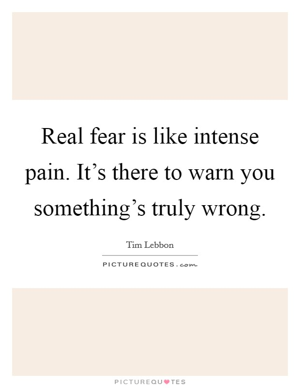 Real fear is like intense pain. It's there to warn you something's truly wrong Picture Quote #1