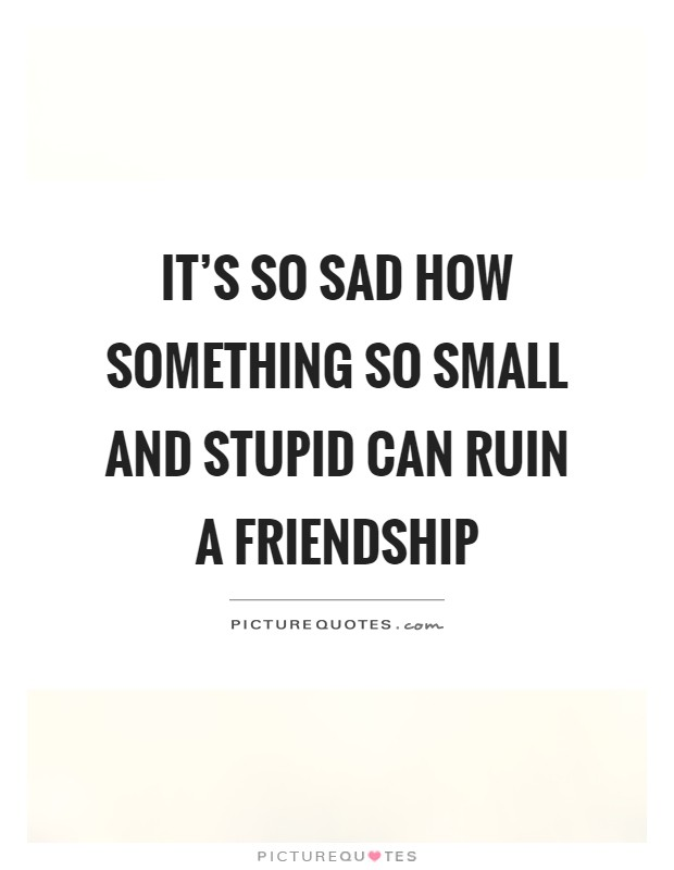 It's so sad how something so small and stupid can ruin a friendship Picture Quote #1