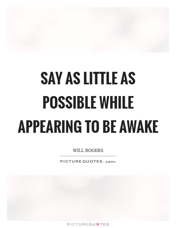 Say as little as possible while appearing to be awake Picture Quote #1