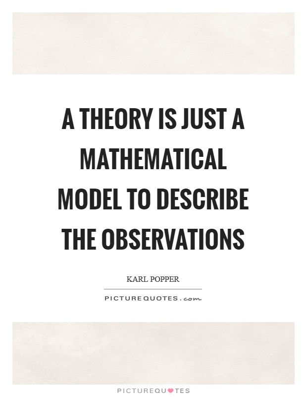 A theory is just a mathematical model to describe the observations Picture Quote #1