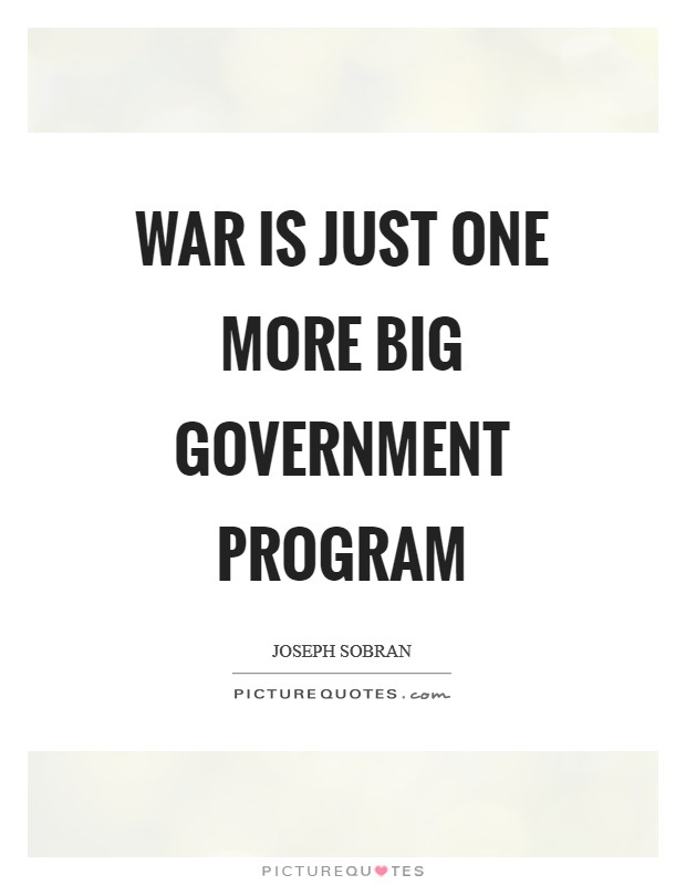 War is just one more big government program Picture Quote #1