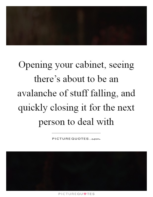 Opening your cabinet, seeing there's about to be an avalanche of stuff falling, and quickly closing it for the next person to deal with Picture Quote #1