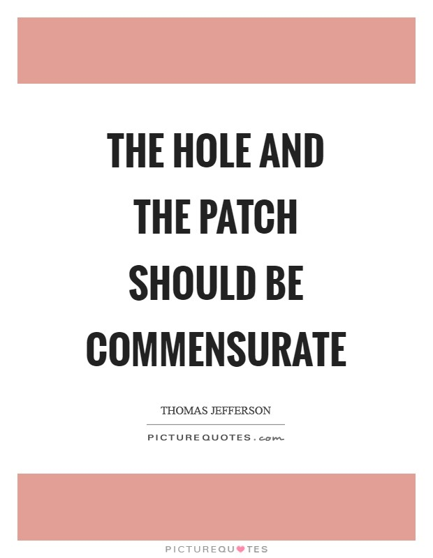 The hole and the patch should be commensurate Picture Quote #1