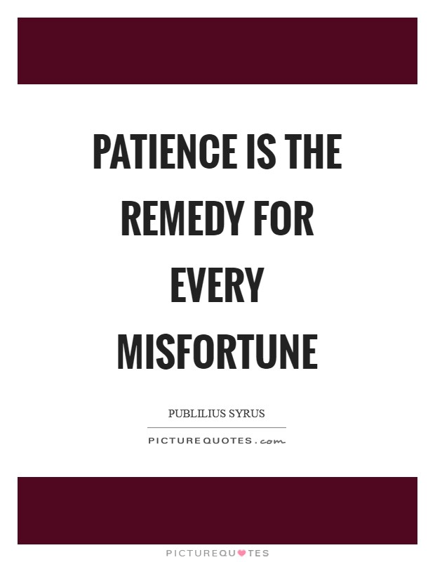 Patience is the remedy for every misfortune Picture Quote #1