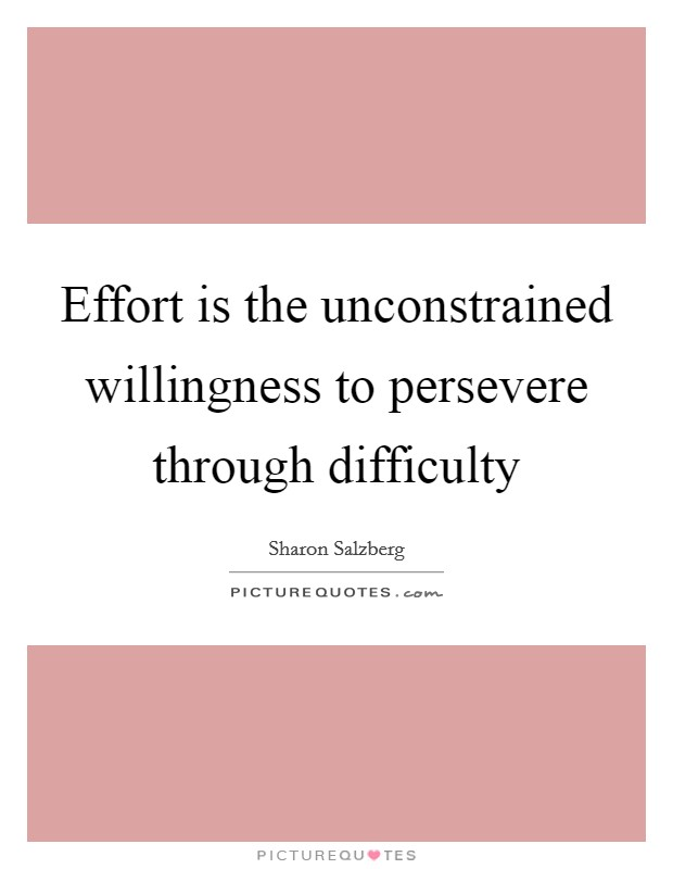 Effort is the unconstrained willingness to persevere through difficulty Picture Quote #1