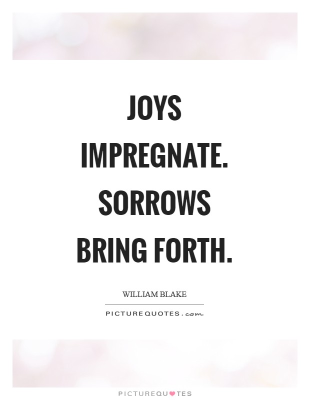 Joys impregnate. Sorrows bring forth Picture Quote #1