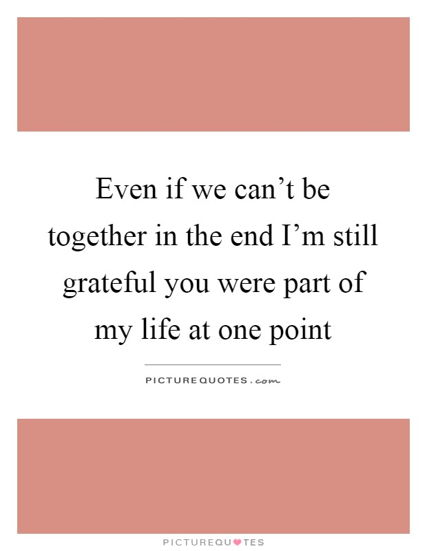 Even if we can't be together in the end I'm still grateful you were part of my life at one point Picture Quote #1