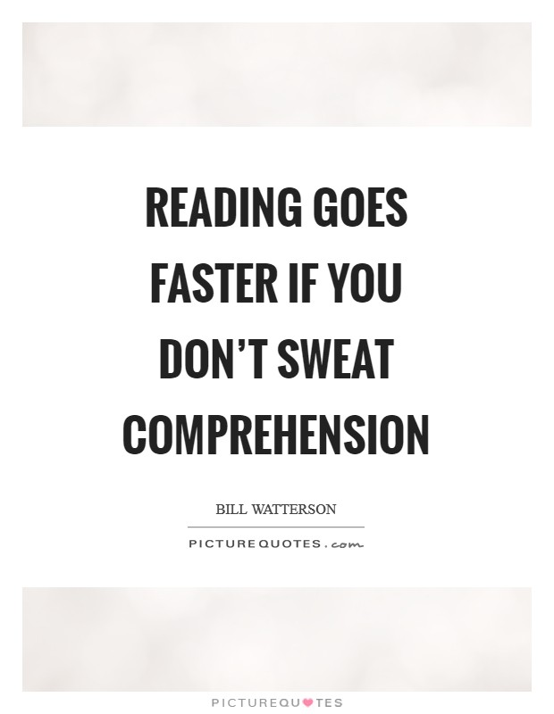 Reading goes faster if you don't sweat comprehension Picture Quote #1
