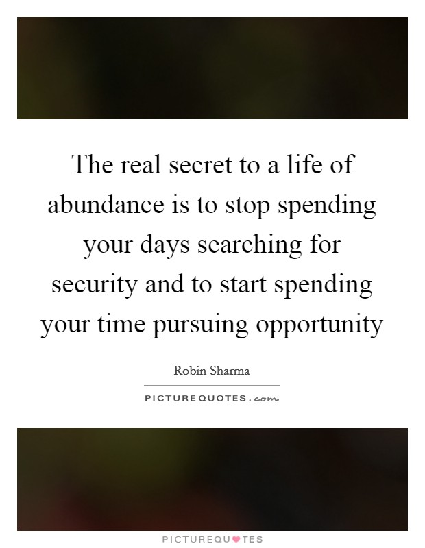 The real secret to a life of abundance is to stop spending your days searching for security and to start spending your time pursuing opportunity Picture Quote #1