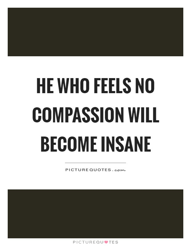 He who feels no compassion will become insane Picture Quote #1