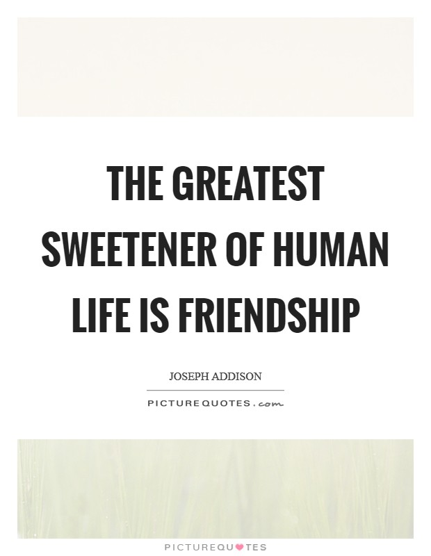 The greatest sweetener of human life is friendship Picture Quote #1